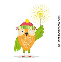Funny Owl in Knitted Hat with Bright Sparkler
