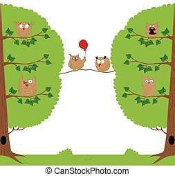 Funny owls sitting in a tree