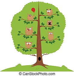 Funny owls sitting on a tree