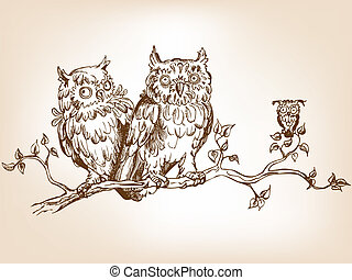 Funny owls - Three hand drawn funny owls, sitting on tree ...