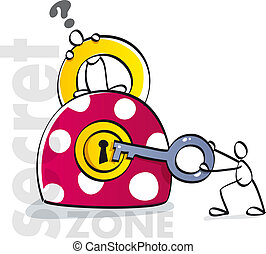 funny padlock with key