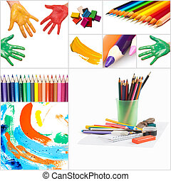 funny painted hand and pencils on white background