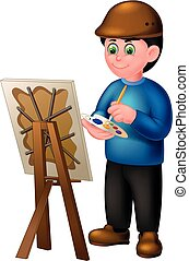 Funny Painter In Blue Shirt Cartoon For Your Design