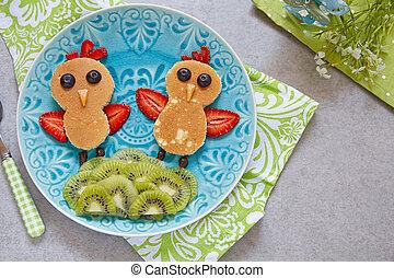 Funny pancakes for kids breakfast