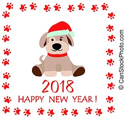 Funny paper childish greeting with puppy for New year 2018