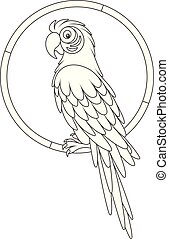Amusing tropical parrot macaw sitting on a ring, a black and white vector illustration in a cartoon style for a coloring book