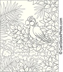 Tropical parakeet perched on a tree in jungle on a summer day, black and white vector illustrations in a cartoon style for a coloring book