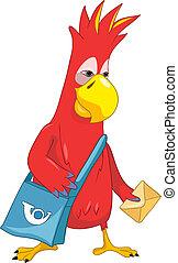 Funny Parrot. Postman. - Cartoon Character Funny Parrot ...