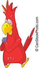 Funny Parrot. Prey. - Cartoon Character Funny Parrot...