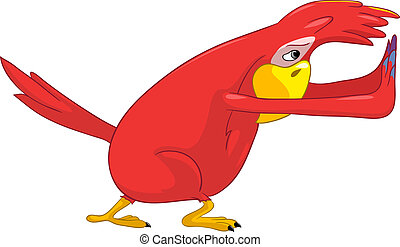 Funny Parrot. Pushing. - Cartoon Character Funny Parrot...