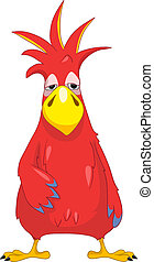 Funny Parrot. Sad. - Cartoon Character Funny Parrot Isolated...