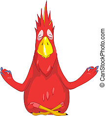 Cartoon Character Funny Parrot Isolated on White Background. Yoga. Vector EPS 10.