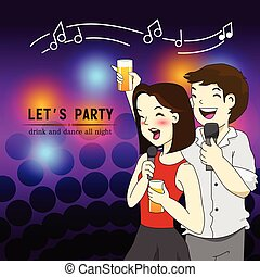 funny party friendship cartoon vector