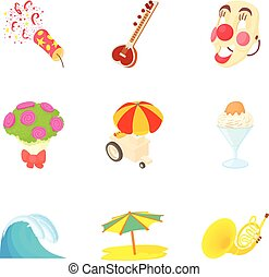 Funny party icons set, cartoon style