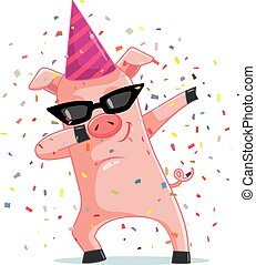 Funny Party Pig Dabbing Vector Cartoon