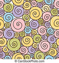 Funny pattern with spirals on a white background. - Vector...