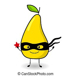 Funny pear in cartoon style in a black mask. Super hero.