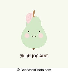funny pear with inscription