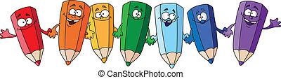 funny pencils - illustration of seven humorous pencil