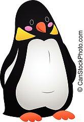 Funny penguin icon, cartoon style