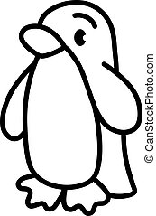 Funny penguin. Simple linear drawing of a bird - Funny ...