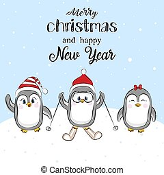 Funny penguin with Christmas red hat. Vector holiday Christmas greeting card with three cartoon penguins and Merry Christmas lettering.