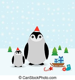 Funny penguins in the red hat, christmas winter card. vector
