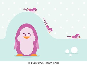 Funny penguins - vector illustration
