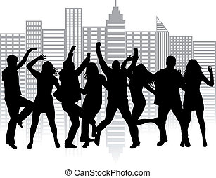 Funny peoples, cityscape .