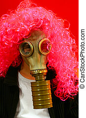 Funny Person In Gas Mask