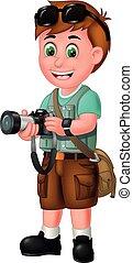 Funny Photographer Boy With Camera Cartoon
