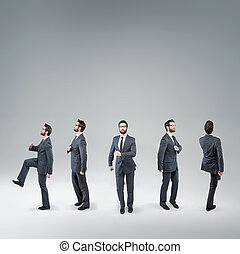Funny picture of a dancing businessman