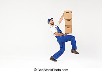 Funny picture of man holding boxes