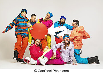 Funny picture of snowboarders playing a hoaxes