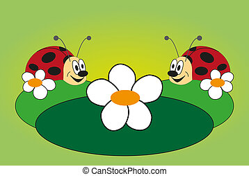 Funny picture of two ladybug