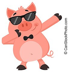 Funny Pig Cartoon Character With Sunglasses Dab Dabbing