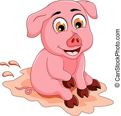funny pig cartoon sitting in mud puddle - vector...