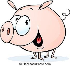 funny pig cartoon - vector illustra