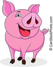 Funny pig cartoon - Vector illustration of funny pig cartoon