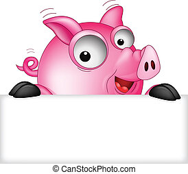 funny pig cartoon with blank sign