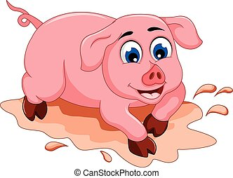 funny pig cartoon with mud puddle - vector illustration of...