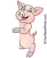 Funny pig cartoon wiyh blank sign - Funny pig cartoon with...