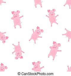 Funny pig dabbing cartoon character. Dancing piggy. Cute piglet have fun. Seamless pattern for nursery, textile, kids apparel.