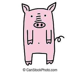 Funny pig doodle. Hand drawn lines cartoon character vector illustration isolated on white background.