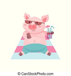 Funny pig drinking a cocktail while lying on the beach, cute piglet cartoon character on summer vacation vector Illustration on a white background