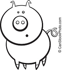 funny pig for coloring book