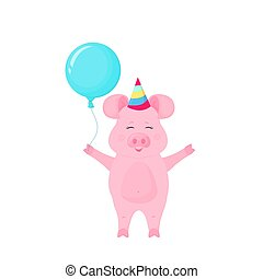 Funny pig in with striped hat and with Balloon at a party. Greeting card design.