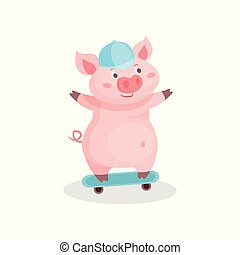 Funny pig riding skateboard, cute little piglet cartoon character vector Illustration on a white background