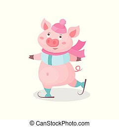 Funny pig skating wearing knitted hat and scarf, cute little piglet cartoon character vector Illustration on a white background