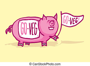 Funny pig supporting veganism